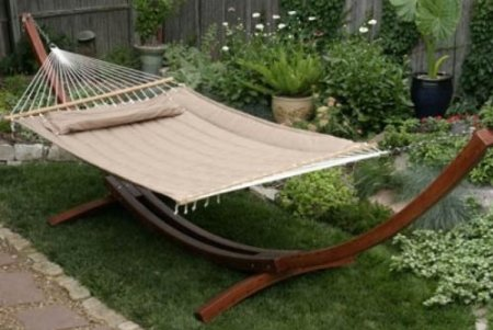 quiltted fabric double hammock with pillow