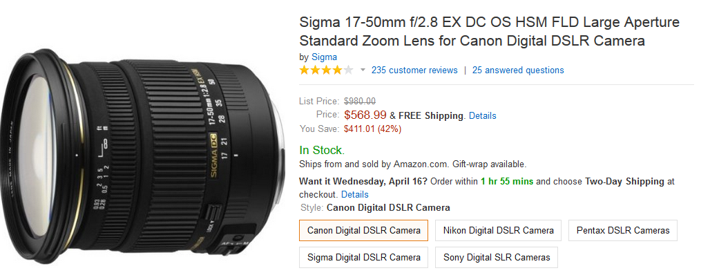 sigma 17-50mm canon lens on amazon