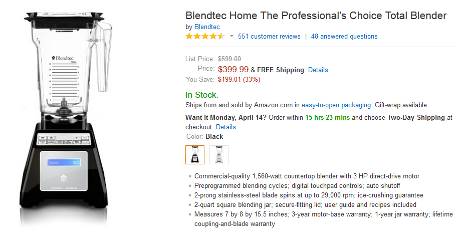 blendtec blender on amazon