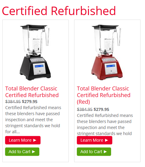 blendtec refurbished blender