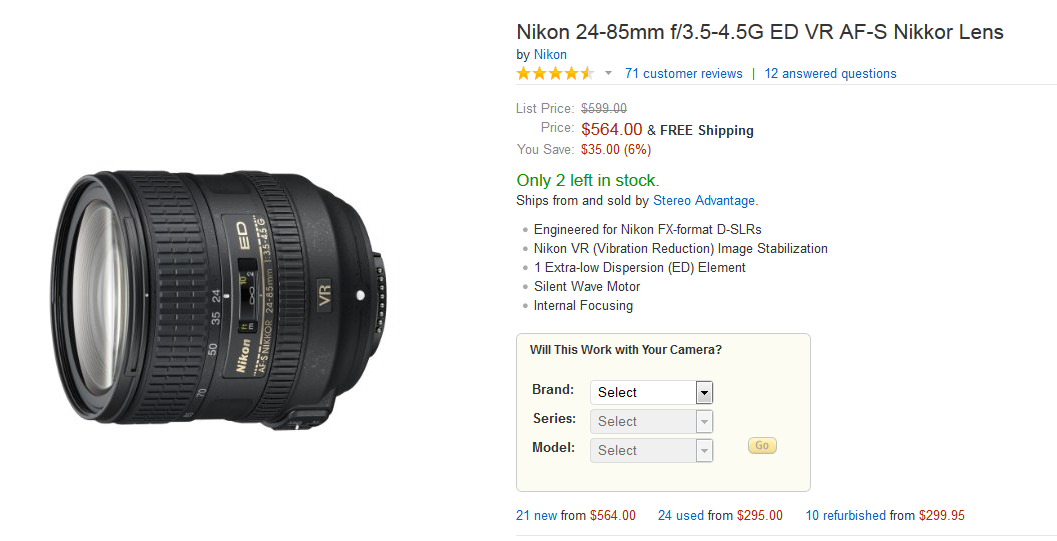 amazon 24-85mm refurb nikkor lens