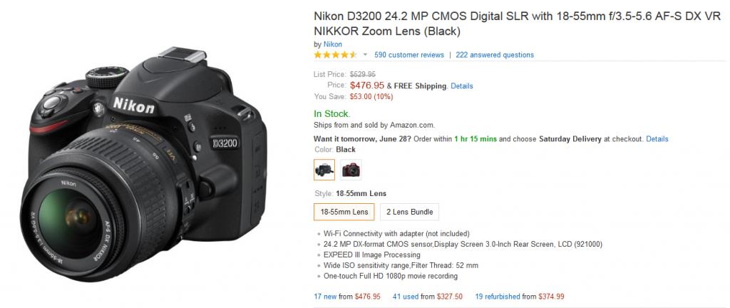 amazon nikon d3200 price