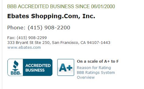 ebates bbb rating