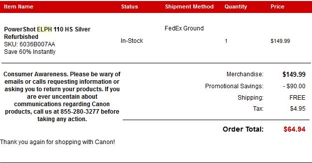 canon elph receipt