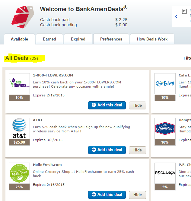 bank of america deals