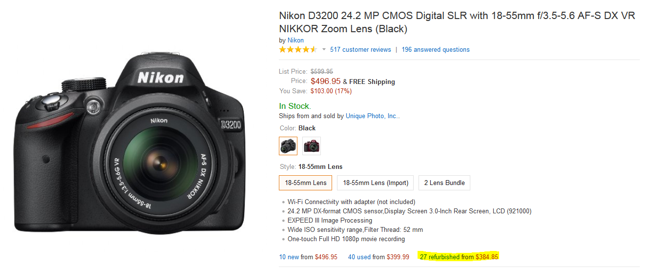 refurbished nikon d3200 kit